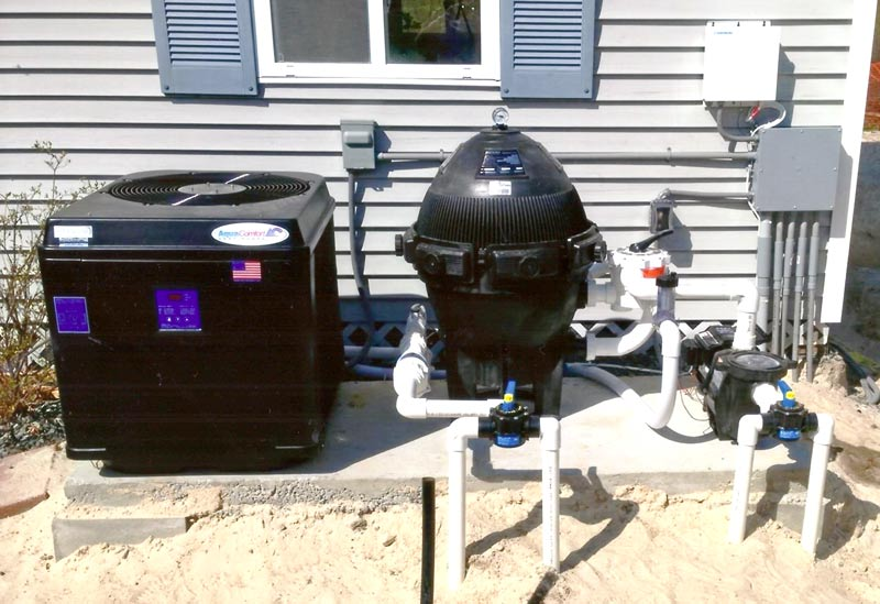 Filter Pad with Pool Pump, Heat Pump and Filter Installed