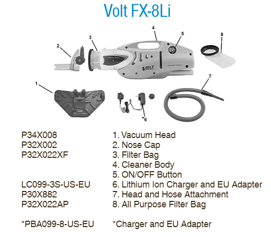 Volt FX-8 Li Pool Cleaner Parts